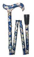 Folding Elite Walking Stick - Blue Floral